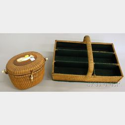 Woven Nantucket Basketry Lidded Purse and Cutlery Tray