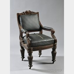 Carved Oak Armchair