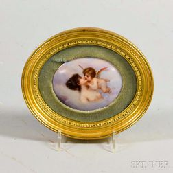 Small Framed Porcelain Portrait Plaque of Cupid and Psyche
