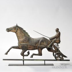 Molded Sheet Copper Nancy Hanks and Sulky Weathervane