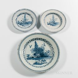 English Tin-glazed Earthenware Charger and Two Plates