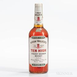 Hiram Walker 10 High 5 Years Old 1958, 1 4/5 quart bottle