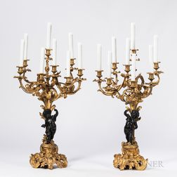 Pair of Gilded and Patinated Bronze Eight-light Candelabra