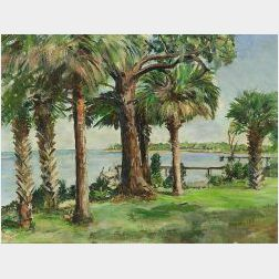 Manley Butler (American, 20th Century)  Lot of Four Landscapes: St. Jospeh's Sound, Ozona, Florida