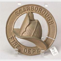 Scarborough Fire Department Cast Metal Fire Mark