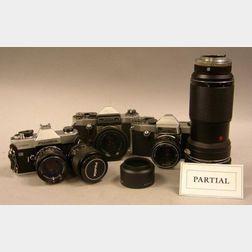 Lot of Black and Chrome 35mm. Cameras