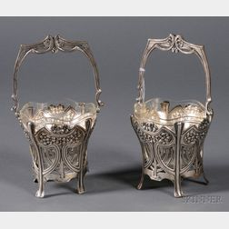 Pair of German Art Nouveau .800 Silver Baskets