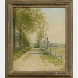 Attributed to Charles Drew Cahoon (Massachusetts, 1861-1951)      A Cape Cod Village Lane.