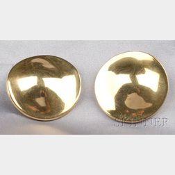 18kt Gold Disc Earclips, Robert Lee Morris