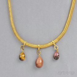 Gold, Hardstone, and Goldstone Glass Fringe Necklace