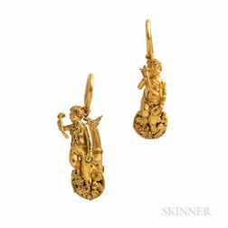 Archeological Revival Gold Earrings