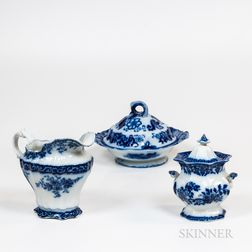 Three Pieces of Flow Blue China