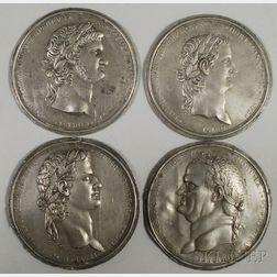 Four Grand Tour Cast Pewter Medallions Depicting Roman Emperors