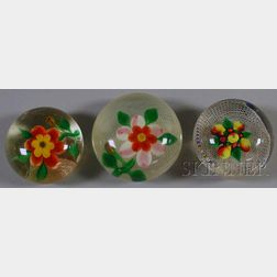 Three Glass Lampwork Paperweights