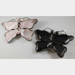Two Large Armani Stone, Metal, and Leather Butterfly Brooches