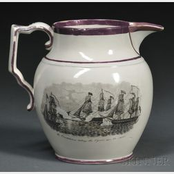 Rare War of 1812 Transfer-decorated Staffordshire Pottery Pitcher