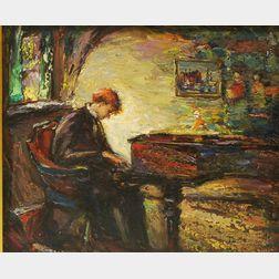 Antonio Cirino (American, 1889-1983)      Interior with Pianist.