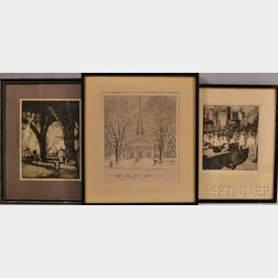 Three Framed Drypoint Etchings on Paper:    Earl Horter (American, 1881-1940), City Park in Snow