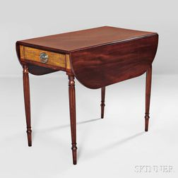 Carved Mahogany and Flame Birch Veneer Pembroke Table