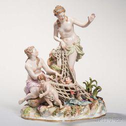 Meissen Porcelain Figural Group The Capture of an Infant Triton