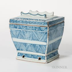 Blue and White Offering Vessel and Cover