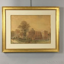 Framed Starett and van Vleck Ink and Watercolor Architectural Drawing of the Nurse's Residence at Fordham Hospital