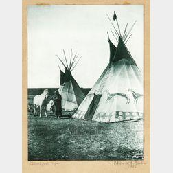 Edward Curtis Photograph   Blackfoot Tipis
