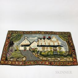 Nancy Adler Hooked Rug Depicting a House