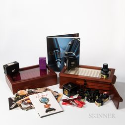 Collection of Fountain and Rollerball Pen Boxes, Books, Ink, and Empty Boxes.     Estimate $200-300