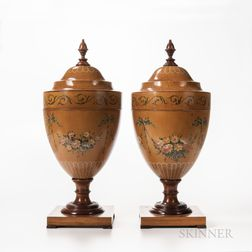 Pair of Painted Satinwood Urn-shape Knife Boxes