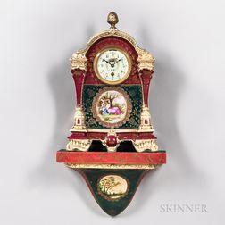 Boston Clock Co. Polychrome Porcelain Clock and Wall Bracket