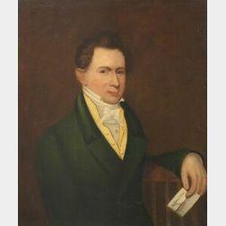 American School, 19th Century  Portrait of a Gentleman Wearing a Green Jacket.