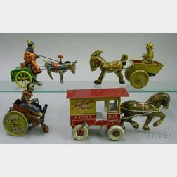 Four Lithographed Tin Clockwork Vehicles