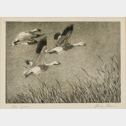 "Stanley Stearns (American, b. 1926)      Lot of 1955 ""Duck Stamp"" Items: Blue Geese"