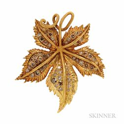 18kt Gold and Colored Diamond Brooch