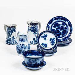 Group of Flow Blue Tableware
