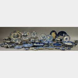 Large Lot of Mostly Blue and White Transfer-decorated Tableware