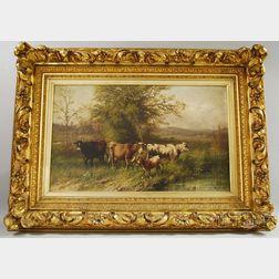 George Riecke (American, 1848-1930)      Cows Watering.