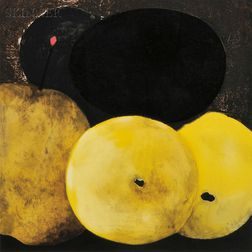 Donald Sultan (American, b. 1951)      Five Lemons, a Pear and an Egg