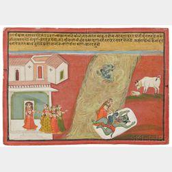 Miniature Painting of a Mythological Scene