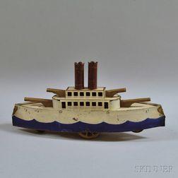 Vintage Dayton/Clark or Schieble Pressed Steel Friction-driven Gun Boat
