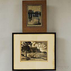 Two Woodcut Prints:      Julius J. Lankes (American, 1884-1960), Sunday Afternoon