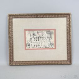 Charles Demetropoulos (American, 1912-1976)      Two Framed Drawings: Greek Orthodox Cathedral, Huntington Avenue, Boston