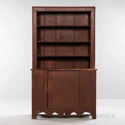 Red-painted Pine Stepback Cupboard
