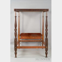 Federal Mahogany Carved and Mahogany Veneer Canopy Bed