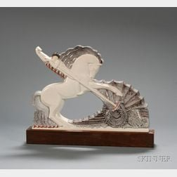 Art Deco St. George Slaying the Dragon Figural Glazed Ceramic Sculpture