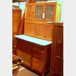 Oak and Porcelain-top Two-Part Hoosier Cabinet