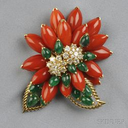 18kt Gold, Coral, and Emerald Flower Clip Brooch