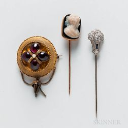 Two Stickpins and a Brooch
