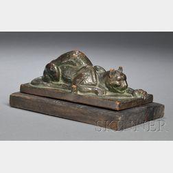 Crouching Metalwork Cougar Sculpture on Plinth